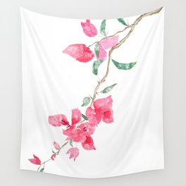 red  pink  bougainvillea watercolor Wall Tapestry
