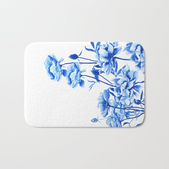 blue peonies Bath Mat