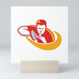 Table Tennis Player Serving Mascot Mini Art Print