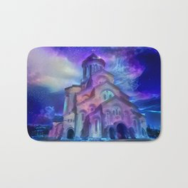 Violet Sky Cathedral of Tbilisi Bath Mat