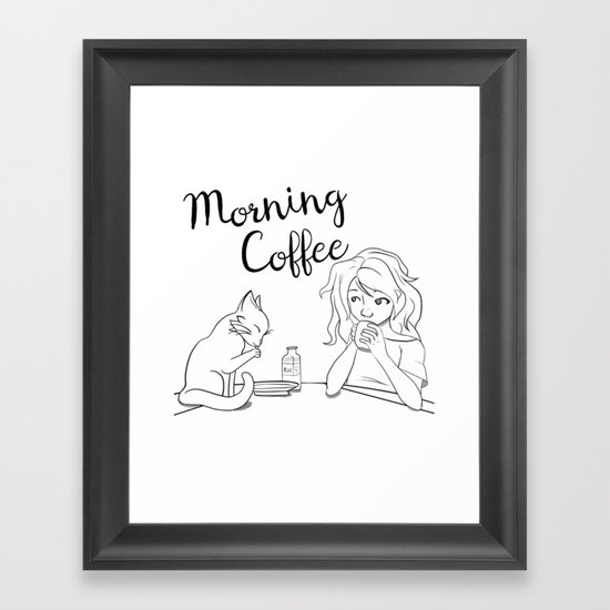 Cats and Coffee Framed Art Print
