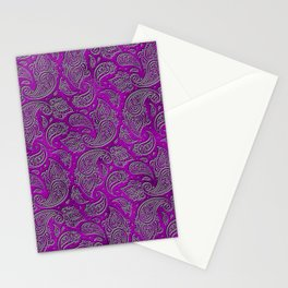 Silver embossed Paisley pattern on purple glass Stationery Cards