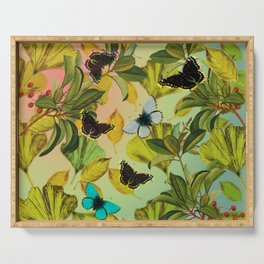 Vintage Ginkgo Leaves and Butterflies Serving Tray