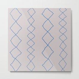 Moroccan Diamond Stripe in Cobalt Metal Print