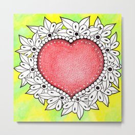 Watercolor Doodle Art | Heart Metal Print