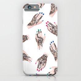 Modern watercolor henna tattooed hands pattern  iPhone Case