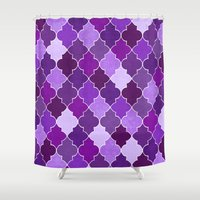 morocco Shower Curtains featuring Morocco Orchid by Jacqueline Maldonado