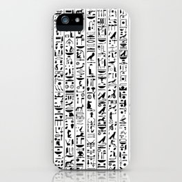 Hieroglyphics B&W / Ancient Egyptian hieroglyphics pattern iPhone Case