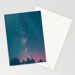 Blue Purple Pink Silhouette Milky Way Galaxy Forest Stationery Cards