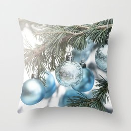 Blue Christmas baubles on tree Throw Pillow