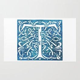 Letter T Elegant Vintage Floral Letterpress Monogram Rug