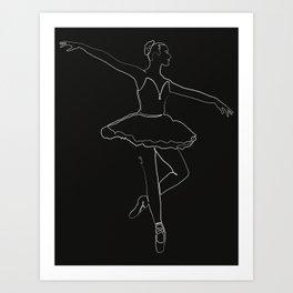 The Ballerina Line - White & Black Art Print