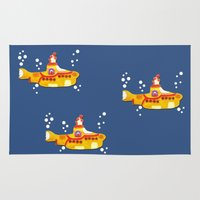 yellow submarine Area & Throw Rugs featuring Fabric Yellow Submarine by AnnaCas