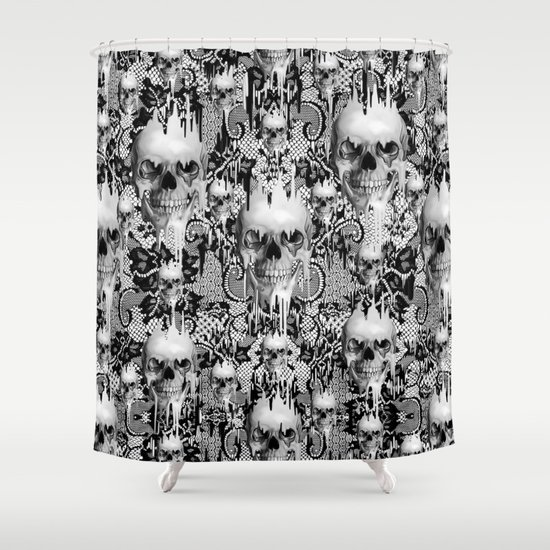 Victorian Gothic Lace Skull Pattern Shower Curtain By Kristypattersondesign