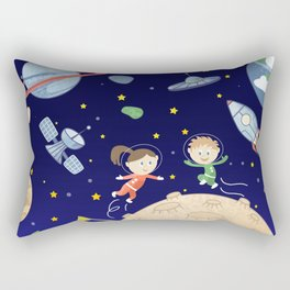 Space kids astronauts planets asteroids and spaceships Rectangular Pillow