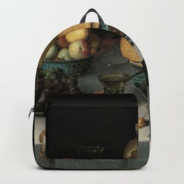 Still Life with Cheese, grapes, wine, bread and more. Finest art from the 17th century. Backpack