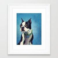 boston terrier Framed Art Prints featuring Boston Terrier by Jackie Sullivan