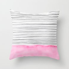 Stripes and pink watercolor Throw Pillow