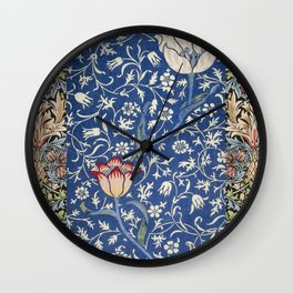 William Morris Victorian blue flowers Wall Clock