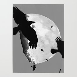 A Murder Of Crows Flying Across The Moon Poster