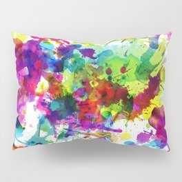 Brightly Colored Paint Splatters Pillow Sham