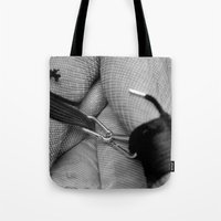 bondage Tote Bags featuring Vintage Bondage by davehare