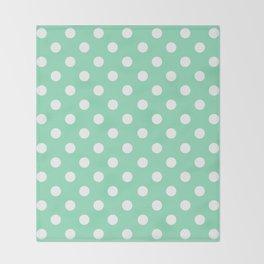Polka Dots (White & Mint Pattern) Throw Blanket
