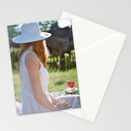 girl in white Stationery Cards