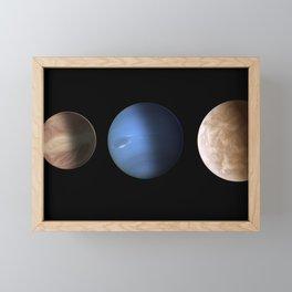 Hubble Space Telescope - Size comparison for exoplanets GJ 436b and GJ 1214b (artist's illustration) Framed Mini Art Print