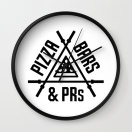 Pizza, Bars and PRs Fitness Triangle v2 Wall Clock