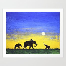 elephant wall canvas art  good luck animal african art landscape painting canvas wall nursery Art Print