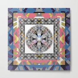 Modern Abstract Frame Glow Floral Sacred Mandala Metal Print