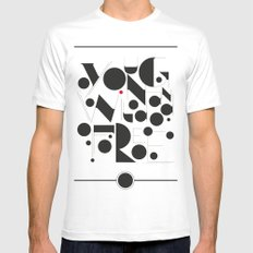 B&W Typography Mens Fitted Tee MEDIUM White