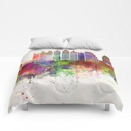 Atlanta V2 skyline in watercolor background Comforters