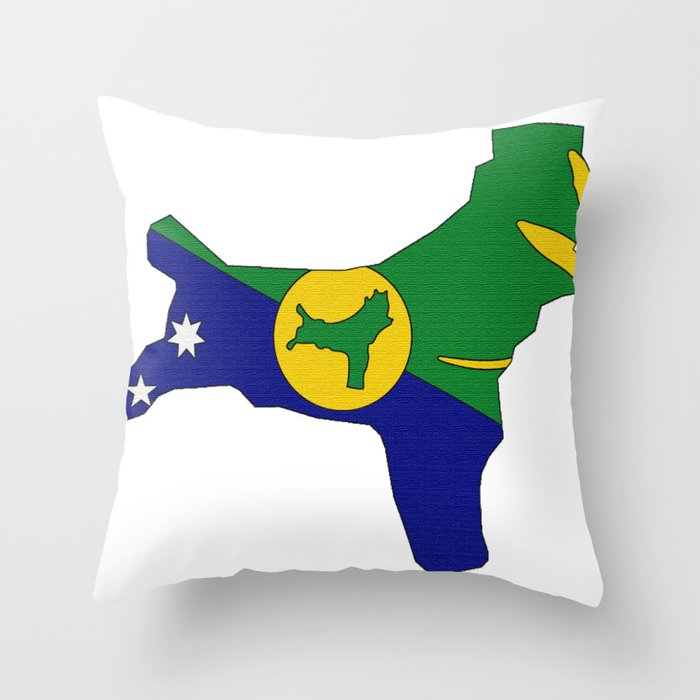 Christmas Island Map with Flag Throw Pillow by havocgirl | Society6