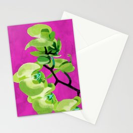 Orchid, green Stationery Cards