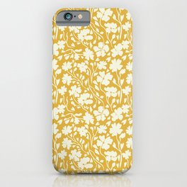 Winter Solstice Floral in Golden Yellow | Pattern Collection  iPhone Case