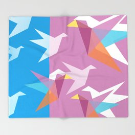 Pastel Paper Cranes Throw Blanket