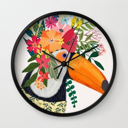 Toucan with flowers on head Wall Clock