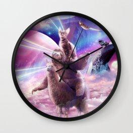 Laser Eyes Space Cat On Sloth Llama - Rainbow Wall Clock