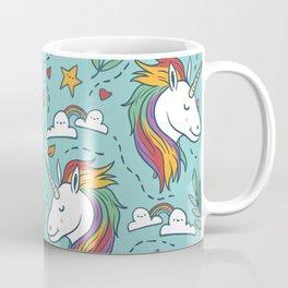 Magical Unicorn Pattern on turquoise background Coffee Mug
