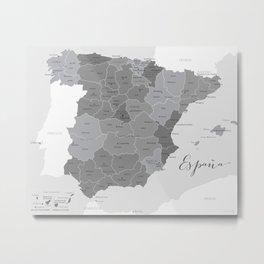Map of Spain in grey Metal Print