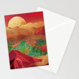 """Tropical golden sunset over fantasy pink forest"" Stationery Cards"