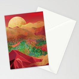 """Tropical golden sunset over fantasy pink forest"" Stationery Cards"