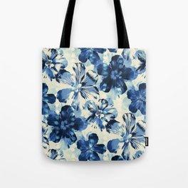 Shibori Inspired Oversized Indigo Floral Tote Bag