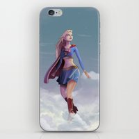 supergirl iPhone & iPod Skins featuring Supergirl by Edouard Relou