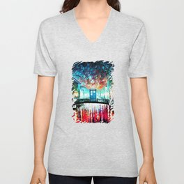 Tardis With Beautiful Starry Night Unisex V-Neck