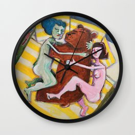 Two women napping with Bear Wall Clock