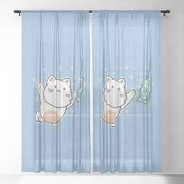 Nevermind Cat Sheer Curtain