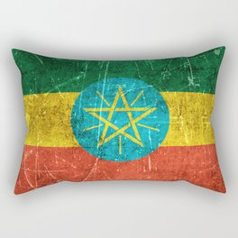 Vintage Aged and Scratched Ethiopian Flag Rectangular Pillow